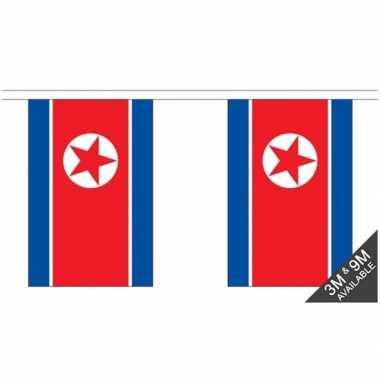 Stoffen vlaggenlijn noord korea 3 meter