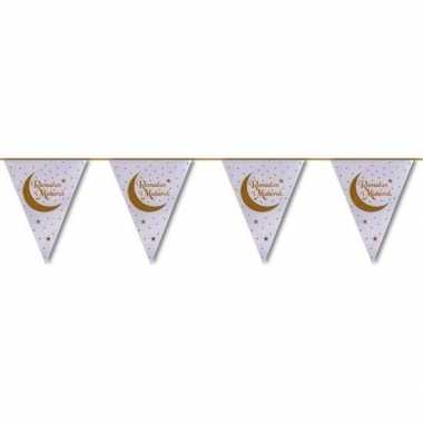 Suikerfeest/offerfeest versiering metallic vlaggenlijn wit/goud 6 met