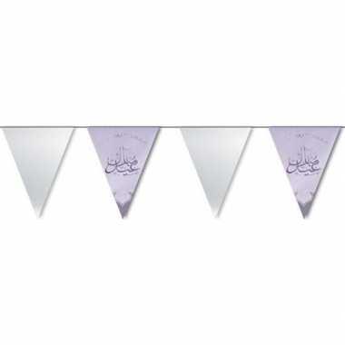 Suikerfeest/offerfeest versiering metallic vlaggenlijn zilver 6 meter
