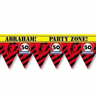 Versiering/decoratie 50 abraham afzetlint vlaggetjes 12 meter