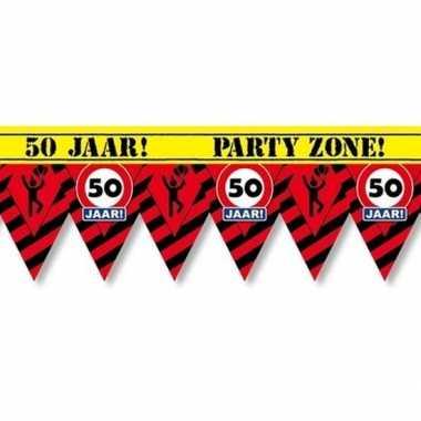Versiering/decoratie 50 jaar afzetlint vlaggetjes 12 meter