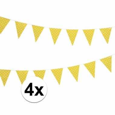 Vier vlaggenlijnen geel met witte stippen 4 meter