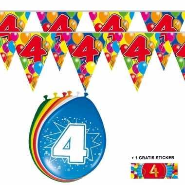 Voordeelset 4 jaar met 2 vlaggenlijnen en ballonnen