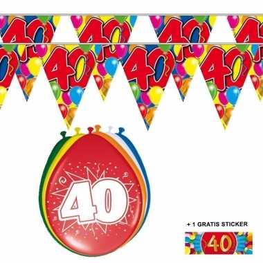 Voordeelset 40 jaar met 2 vlaggenlijnen en ballonnen