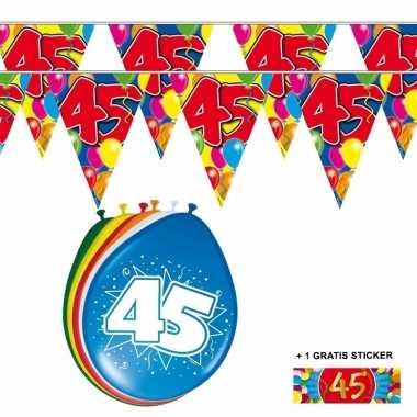 Voordeelset 45 jaar met 2 vlaggenlijnen en ballonnen