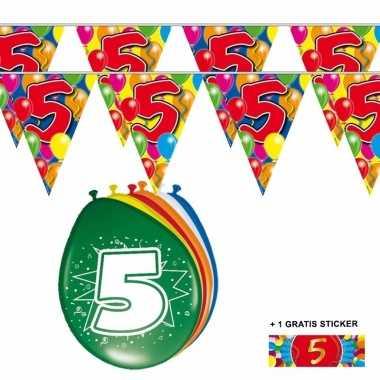 Voordeelset 5 jaar met 2 vlaggenlijnen en ballonnen