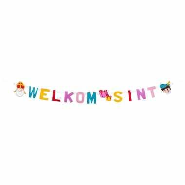 Welkom sint feest versiering letterslingers 150 cm