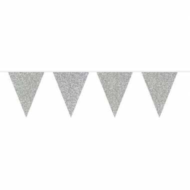 Zilveren vlaggenlijn met glitters 10 meter