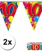10 jaar vlaggenlijnen 2x met gratis sticker