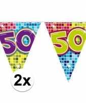 2x mini vlaggetjeslijn slingers verjaardag versiering 50 jaar