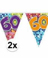 2x mini vlaggetjeslijn slingers verjaardag versiering 60 jaar