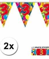 3 jaar vlaggenlijnen 2x met gratis sticker