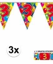 3 jaar vlaggenlijnen 3x met gratis sticker