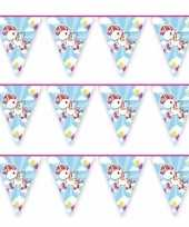 3x blauwe vlaggenlijn eenhoorn 10 mtr