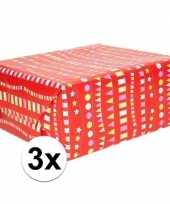 3x cadeaupapier rood met vlaggenlijnen 200 x 70 cm