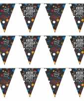 3x geslaagd afgestudeerd puntvlaggenlijn slinger krijtbord hashtags 10 meter feestversiering