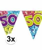 3x mini vlaggetjeslijn slingers verjaardag versiering 50 jaar