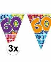 3x mini vlaggetjeslijn slingers verjaardag versiering 60 jaar