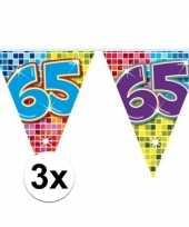 3x mini vlaggetjeslijn slingers verjaardag versiering 65 jaar
