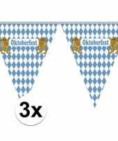 3x oktoberfest slingers vlaggetjes van 5 meter