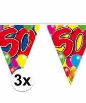3x stuks 50 jaar slingers vlaggetjes 10 meter