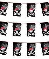 3x stuks plastic piraten vlaggenlijnen slingers 10 meter