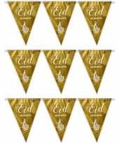 3x suikerfeest offerfeest versiering metallic vlaggenlijn goud 6 meter