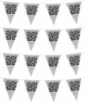 4x zilveren jubileum verjaardag bruiloft vlaggenlijnen 25 jaar 8 meter