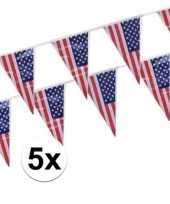 5x amerikaanse usa punt vlaggetjes lijnen