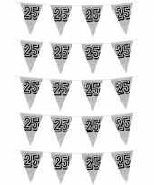 5x zilveren jubileum verjaardag bruiloft vlaggenlijnen 25 jaar 8 meter