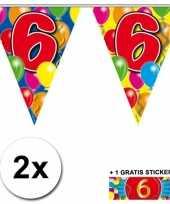 6 jaar vlaggenlijnen 2x met gratis sticker