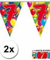7 jaar vlaggenlijnen 2x met gratis sticker