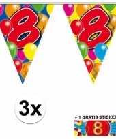 8 jaar vlaggenlijnen 3x met gratis sticker