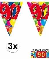 90 jaar vlaggenlijnen 3x met gratis sticker