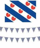 Friesland decoratie pakket met vlag en 2 vlaggenlijnen
