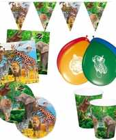 Gedekte kinderfeestje jungle tafel set bordjes bekers servetten voor 8x kinderen
