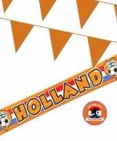 Oranje versiering buiten pakket 1x holland banner 370x60 200 meter vlaggetjes