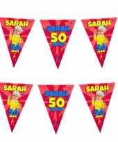 Vlaggenlijn 50 jaar sarah versiering decoratie 10 meter 10260513