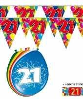 Voordeelset 21 jaar met 2 vlaggenlijnen en ballonnen