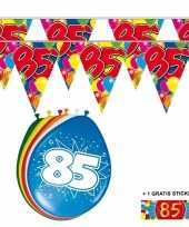 Voordeelset 85 jaar met 2 vlaggenlijnen en ballonnen